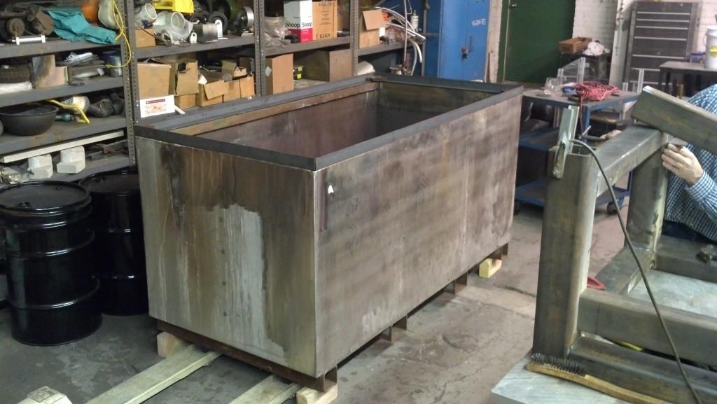 Stainless steel tub.