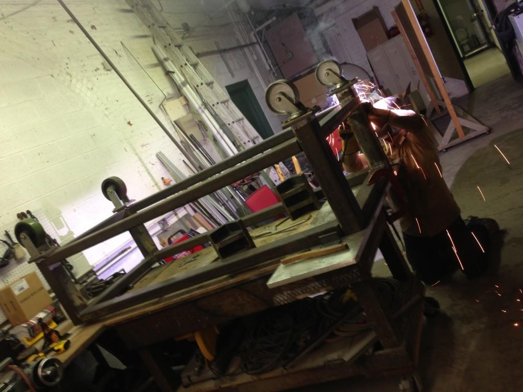 Jimmy welding casters.