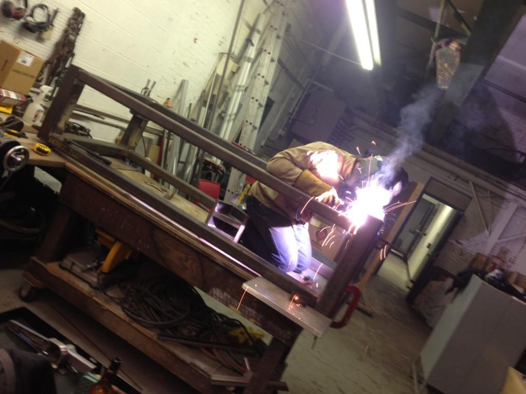 Jimmy welding cross braces.